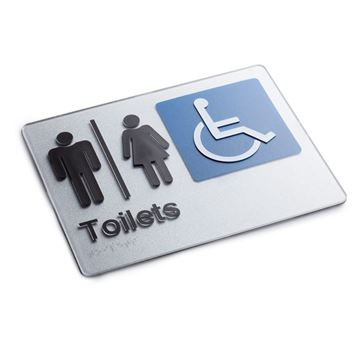 Picture of Braille Sign Male, Female & Disabled Toilet