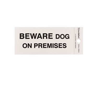 "Picture of 100 x 50 mm ""Beware Dog on premises"""