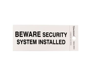"Picture of 100 x 50 mm ""Beware Security System Install"""