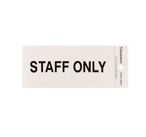 "Picture of 100 x 50 mm ""Staff Only"""