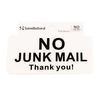 "Picture of 75 x 38 mm ""No Junk Mail"""