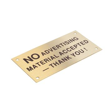"Picture of 95 x 47 mm ""No Advertising"" Brass"
