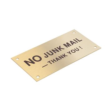 "Picture of 95 x 47 mm ""No Junk Mail"" Brass"