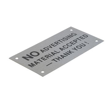 "Picture of 95 x 47 mm ""No Advertising"" Stainless Steel"