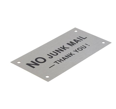 "Picture of 95 x 47 mm ""No Junk Mail"" Stainless Steel"