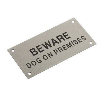 "Picture of 95 x47 mm ""Beware Dog on Premises"" Stainless Steel"
